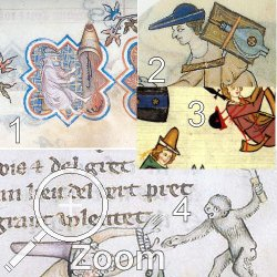 (1) MS.M.75, 1350, Frankreich (2) Luttrell Psalter, 1335, England, (3) Manesse, D., 1340 (4) MS.G.24